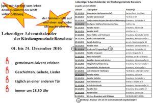Lebendiger Adventskalender Breselenz 2016