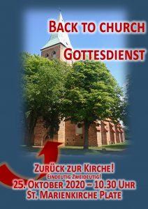 """Zurück zur Kirche: """"Back to church""""-Gottesdienst am 25.10.2020 in der St. Marienkirche @ St. Marienkirche Plate"""